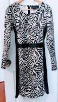 Kardashian Kollection KK Tiger Print Black Panel Long Sleeve Shirt Dress Size L