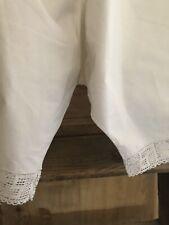 Antique French cotton BLOOMERS pantaloons FILET LACE trim c1900