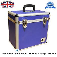 "2 X NEO Aluminum Blue Storage for 50 Vinyl LP Records 12"" DJ carry Case"