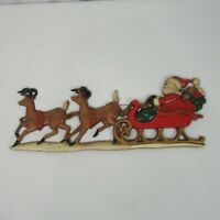 Vintage Sexton Santa Sleigh Reindeer Metal Wall Hanging USA Home Interiors 16 In