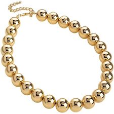 Large 18 mm ball bead gold colour choker necklace fashion jewellery