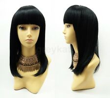 Long Black Wig with Straight Across Bangs Heat Resistant Cleopatra Style 15""