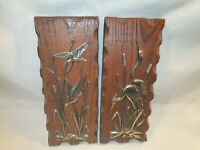Vintage Wooden Plaque With Birds Mounted Stork/ Rushes In Great Condition