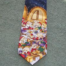 Santa's Elves Workshop Christmas Tie New Polyester Wide
