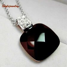 White Gold Filled Clear Crystal Women Black Square Onyx Necklace N174