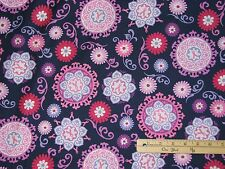 Project Pink Ribbon Navy Medallion Breast Cancer Survivor Fabric 1/2 Yd #36407-2