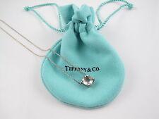 Auth Tiffany & Co Silver Praseolite Gemstone Sparkler Pendant Necklace