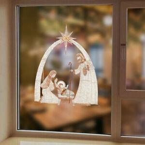Nativity story wall sticker window glass decoration pvc sticker 20x30cmMBUK