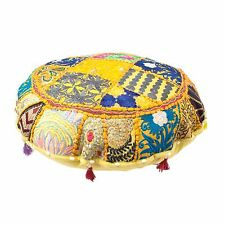 Patchwork Round Yellow Moroccan Living Floor Pouf Cover Handmade Pouf Footstool