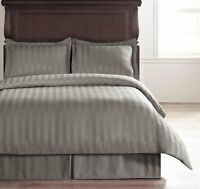 Hotel Collection 100% Poly 4PC Reversible Damask Stripe Duvet Cover Set