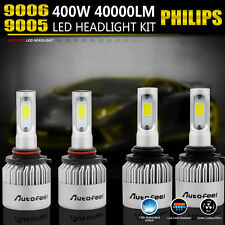 9005 9006 4PCS LED Total 400W 40000LM Combo Headlight High 6000K White Kit Bulbs
