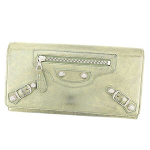 Balenciaga Wallet Purse Green Silver Woman unisex Authentic Used Y7158