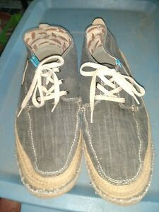 mens freewaters grey/black canvas slip on boat shoes loafers freewater sz 13 use
