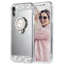 Luxury Shiny Diamonds Ring Holder Stand Mirror Case Shell Cover For iP