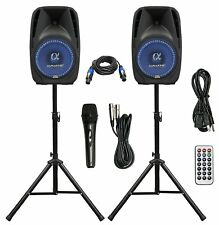 """ALPHASONIK PAIR 8"""" POWERED DJ SPEAKERS WITH STANDS CABLE AND MICROPHONE PACKAGE"""