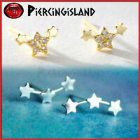 925 STERLING SILVER Gold Trilogy Stars Diamond STUD EARRING EAR CLIMBER Piercing