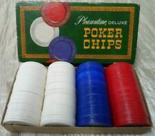 Vintage 1963 Pleasantime Deluxe Poker Chips 100+ Plastic Chips Box (BIN 26)