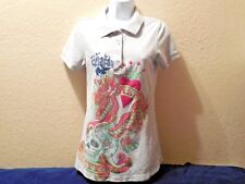 Ed Hardy New York City Polo Button Collar 4 button Shirt Juniors Large