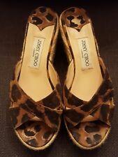 d257df7488b7 Sale JIMMY CHOO Animal Leopard PLATFORM WEDGE SLIDE SANDAL SZ 7.5m
