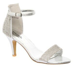 New Ladies Diamante Evening Ankle Strap Party Dressy Bridal Silver Sandals 3-8