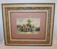 ANTIQUE SIGNED ESSIE CROUCH LOG CABIN WATERCOLOR PAINTING ORIGINAL ARTWORK