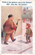 POSTCARD  COMIC   Fat  Gent  Little  Boy  Station       Reg  Maurice