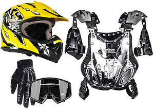 PeeWee 50-75lbs Chest Protector Yellow Helmet Set Black Gloves Goggles Kids DOT