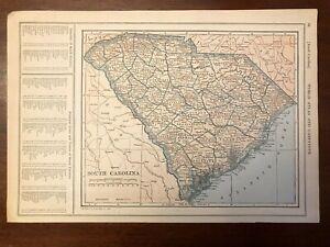 1927 South Carolina Map New World Atlas and Gazetteer