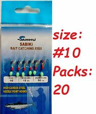 20 Packs size #10 sabiki bait rigs 6 RED hooks offshore saltwater lures
