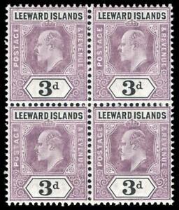 Leeward Islands 1905 KEVII 3d dull purple & black chalk paper block MNH. SG 33a.