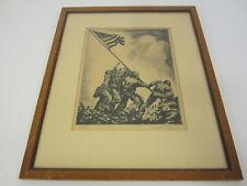 Iwo Jima Nathaniel P Steinberg signed autographed etching framed matted Coa