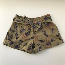 Generra Second Skin Clothes Belted Cotton Cuffed Leaf Print Shorts, Size 6