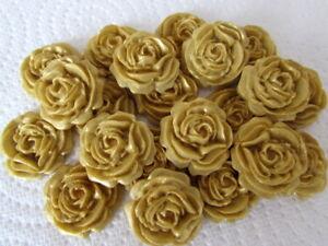 12 Gold Roses Flowers Edible Cake Toppers Sugarcraft Wedding, Cupcake,Birthday,