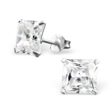 Solid 925 Sterling Silver 7mm Princess Cut Simulate Diamond Stud Earrings Square
