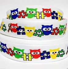 """Grosgrain Ribbon 7/8"""" AUTISM AWARENESS OWLS Printed for Hairbows USA SELLER"""