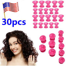 30PCS Women Girls MOM DIY Hair Magic Curls Curlers Silicone Roller Styler Tool