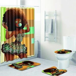 4Pcs Waterproof Various Bathroom Shower Curtain Non Slip Toilet Cover Rugs Mat