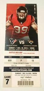 2016 Jacksonville Jaguars Houston Texans NFL Football Ticket Stub