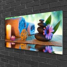 Wandbilder Glasbilder Druck auf Glas 140x70 Steine Blume Kerzen Kunst
