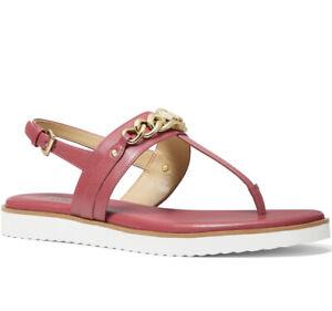 NIB Size 10 Sandals Michael Kors Roxane Leather Thong Sandals LT Berry Sorbet