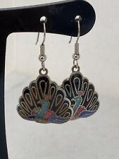 Vintage Enamel Cloisonné Earrings Drop Pierced Ears Hook -Peacocks