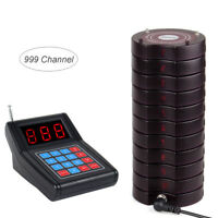 999CH Restaurant Wireless Paging System Transmitter+10*Coaster Pagers Fast Food