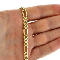 "18K Gold Plated on Mens Solid 925 Silver Figaro Chain Necklace 18-36"" and 3-6mm"