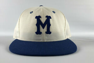 Montreal Royals Roman Pro Fitted Hat 7 1/8 - White Blue Throwback Vintage