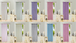 STRIPED PRINTED GROMMET VOILE SHEER WINDOW CURTAIN TREATMENT 1PC 2 TONE PANEL