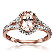 Solid 14k Rose Gold 1.51ct Natural Morganite And Diamond Engagement Fine Ring
