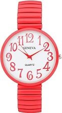 NEW GENEVA BIG OVERSIZE FACE RED STRETCH BAND,STRAP WHITE DIAL WATCH