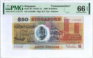 "Singapore 50 Dollars P30 1990 PMG 66 EPQ s/n A197898 ""Commemorative"" Polymer"