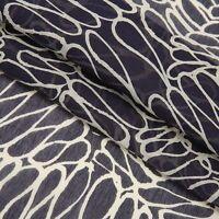 V1-1 Black White Wave Pattern Print Silk Cotton Fabric by the Metre