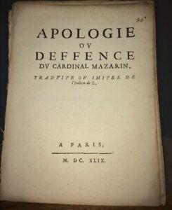 APOLOGIE OU DEFENCE DU CARDINAL MAZARIN. 1649.